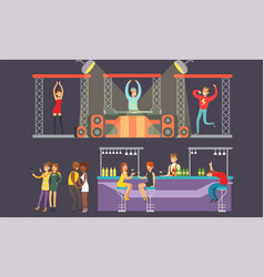 people dancing at nightclub young men and women vector image