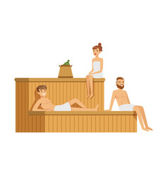 People wearing towels relaxing in sauna steam room vector