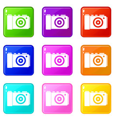 Photo camera icons 9 set vector