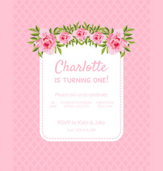 Pink bagirl birthday invitation card is turning vector