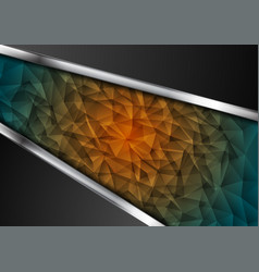 polygonal technology background with metallic vector image