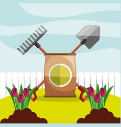 Potting soil shovel and rake planting flowers vector