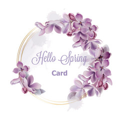 Purple lilac flowers wreath card watercolor vector