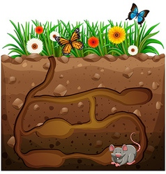 Rat hole under the garden vector
