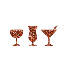 red abstract cocktail icons vector image