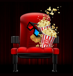 red theater chair on a dark red curtain vector image