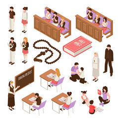 Religious education isometric set vector