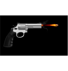 revolver firing bullet on black background vector image