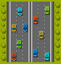 Road cars background traffic jam on the road vector