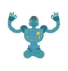 robot yoga cyborg yogi isolated robotic man vector image