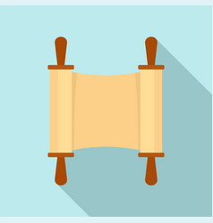 Rolled open brown papyrus icon flat style vector