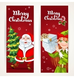 Santa Claus and Elf with gift on two Christmas vector image