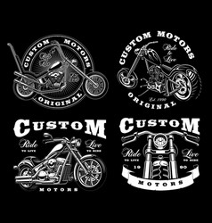 set of 4 vintage biker on dark background 3 vector image