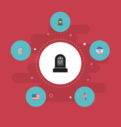 set of day icons flat style symbols with flag vector image