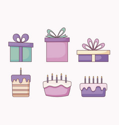 set of gift boxes and sweet cakes vector image
