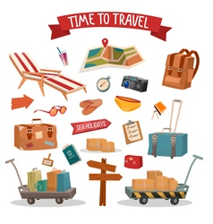 Set of Holidays Summertime Elements vector