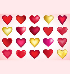 set of red and golden valentines heart vector image