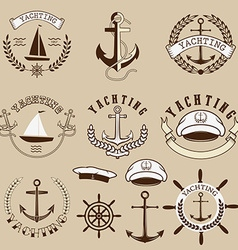 Set of the yachting labels and design elements vector image
