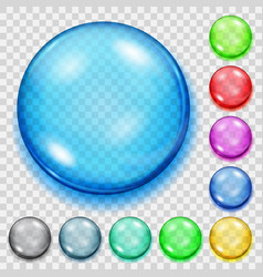 set transparent colored spheres with shadows vector image