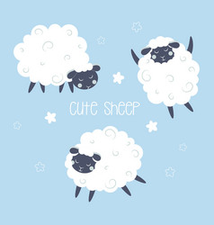 Set with cute sheep vector