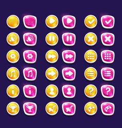 Set with shiny pink and yellow interface buttons vector