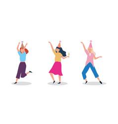 Set women dancing with party hat vector
