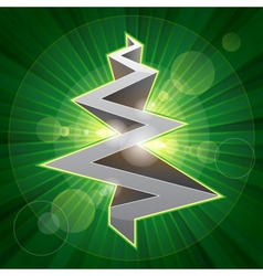 Shining metal christmas tree vector image