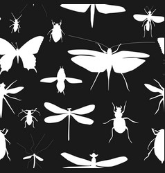 silhouettes set beetles dragonflies and vector image