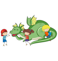 Simple cartoon character green dragon vector