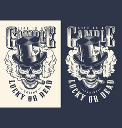 Skull casino concept t-shirt print vector