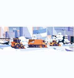 Snow plow truck and tractors cleaning snowy road vector