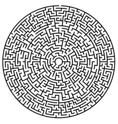 solvable circular maze element isolated on white vector image