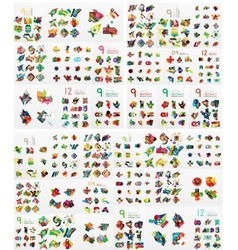 Super mega set of abstract geometric paper graphic vector image