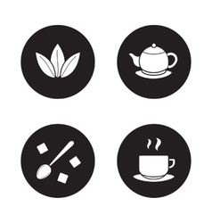 Tea items simple icons set vector