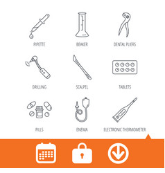 Thermometer pills and dental pliers icons vector