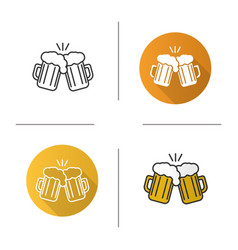 Toasting beer glasses icon vector
