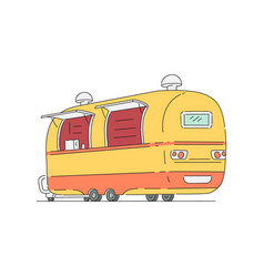 Trade truck for fast food mobile cafe sketch vector
