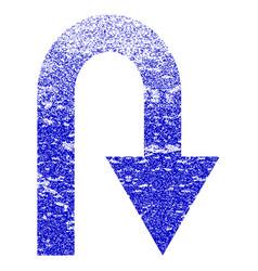 U turn grunge textured icon vector
