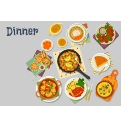 Vegetarian dishes icon for healthy lunch design vector