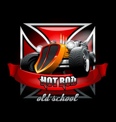 Vintage hot rod logo for printing on t-shirts or vector