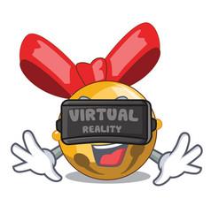 virtual reality jinggle bell ball christmas on vector image