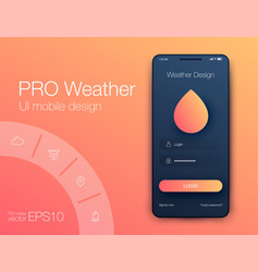 Weather forecast app ux ui design stock vector