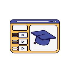 Website graduation hat school learning online vector