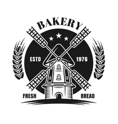windmill black emblem or badge for bakery vector image
