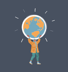 woman holding globe in hand vector image