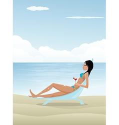 Woman relaxing on beach vector