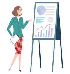 Woman standing near board with graphs and charts vector