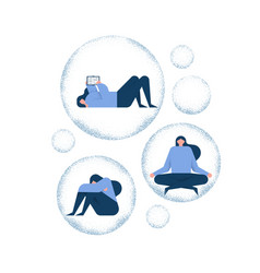 woman trapped in bubble mental health concept vector image