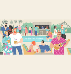 young people at a summer party pool vector image
