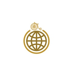 Bicycle and globe mockup logo travel on bike icon vector image
